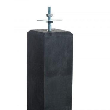 Beton Poer zwart met facet 14x14x58 cm incl bev.plaat